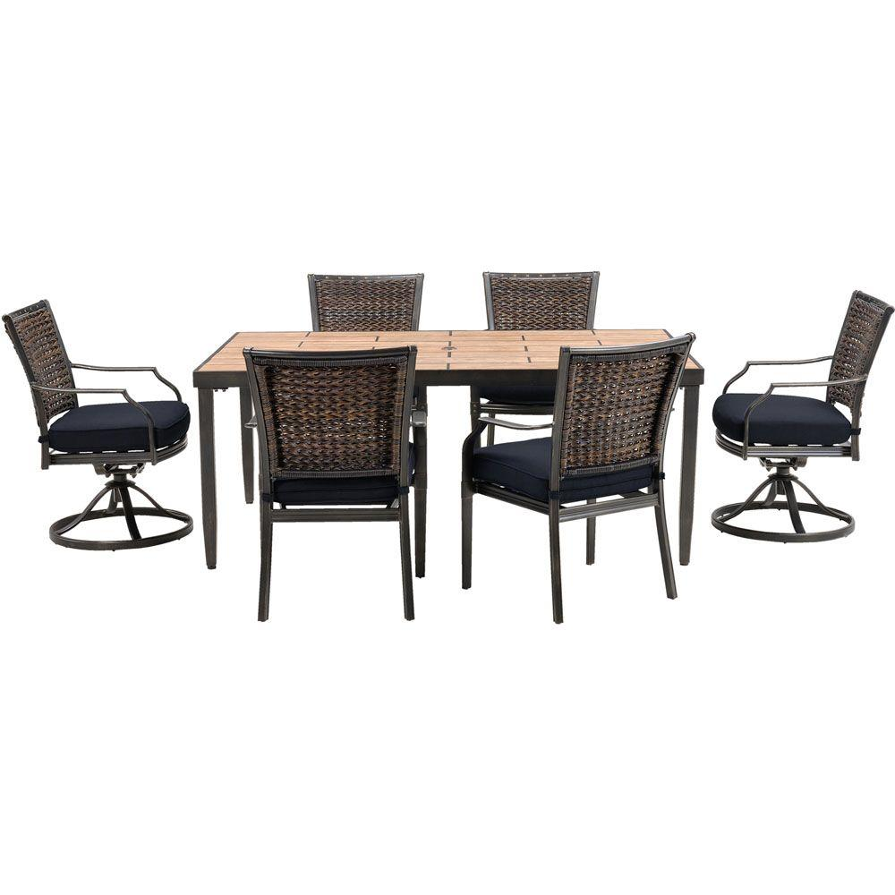 Hanover Mercer 7 Piece All Weather Wicker Patio Dining Set