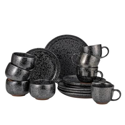 Volcanic 16-Piece Casual Black Stoneware Dinnerware Set (Service for 4)
