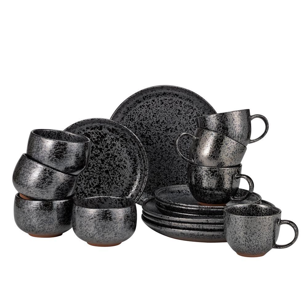 Volcanic 16-Piece Casual Black Stoneware Dinnerware Set (Service for 4)