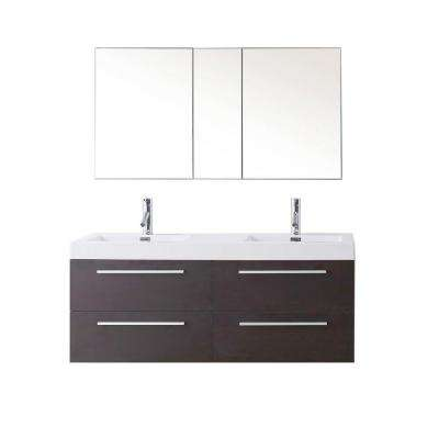 W Double Basin Vanity In Wenge With Poly Marble Vanity Top