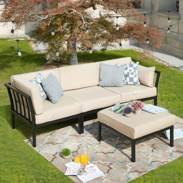 Patio Festival 4-Piece Metal Outdoor Sectional Set with Beige