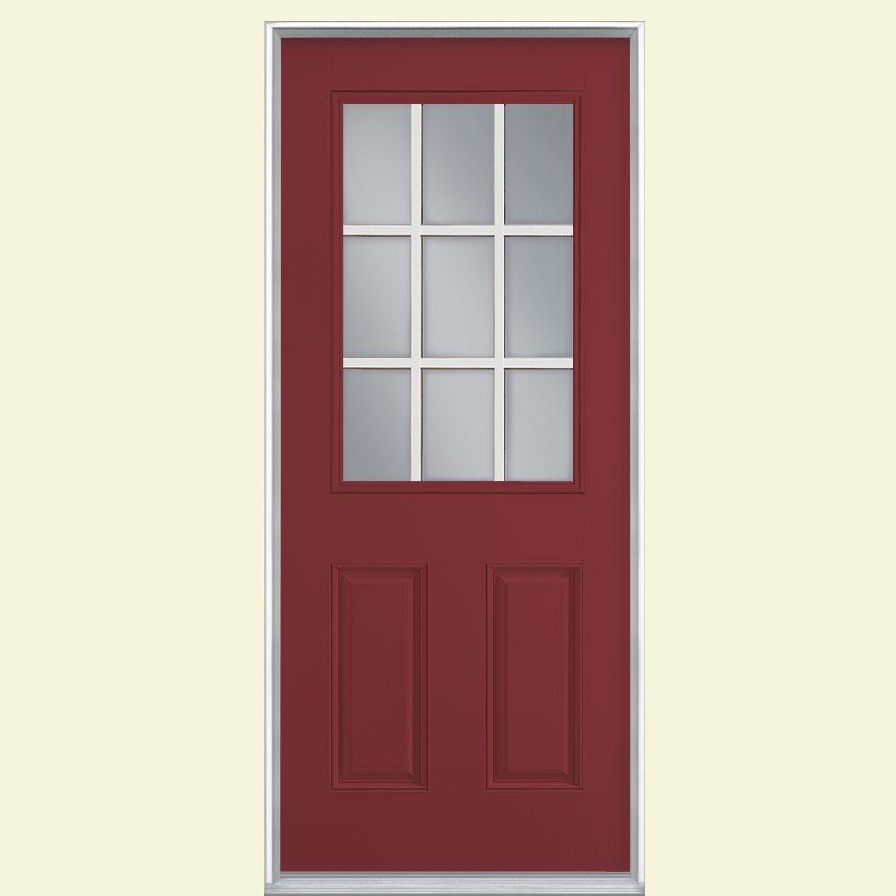 36 in. x 80 in. 9 Lite Red Bluff Left Hand Inswing Painted Smooth Fiberglass Prehung Front Door, Vinyl Frame