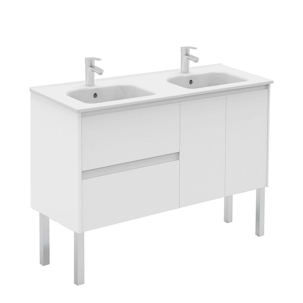 Ambra 47.5 in. W x 18.1 in. D x 32.9 in. H Bathroom Vanity Unit, Vanity Top and Basin in Gloss White