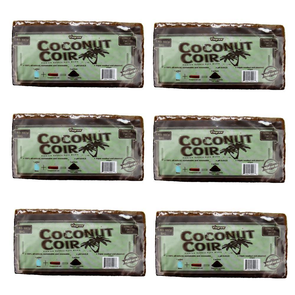 1.4 lbs. Premium Soilless Coconut Coir Brick Grow Media (6-Pack)