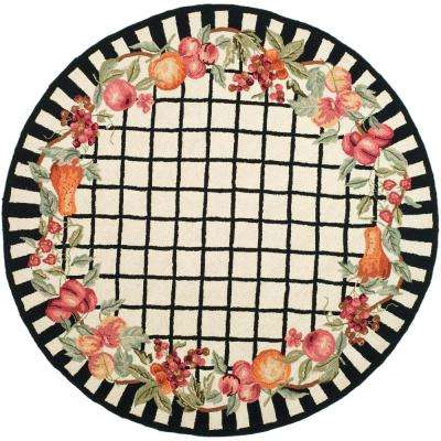 Chelsea Ivory/Black 5 ft. 6 in. x 5 ft. 6 in. Round Area Rug