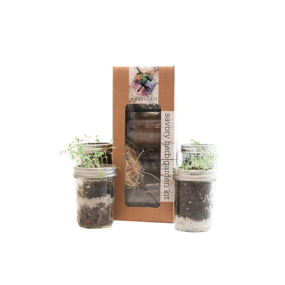 Savory Mason Herb Garden Kit with Summer Savory, Arugula, Dill and