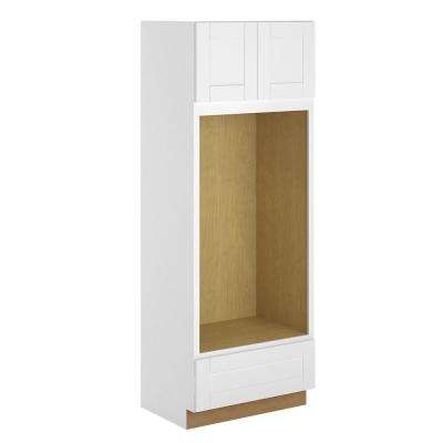 Princeton Shaker Assembled 33x90x24 in. Pantry/Utility Double Oven Cabinet in Warm White
