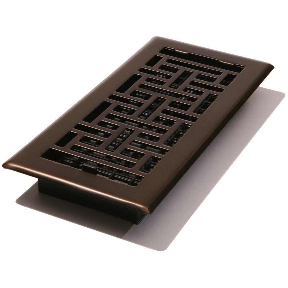4 In X 12 Steel Floor Register Oil Rubbed Bronze