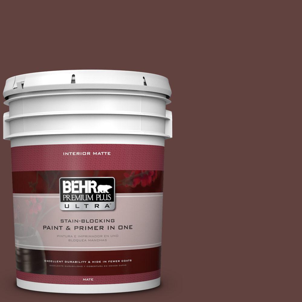 BEHR Premium Plus Ultra 5 gal. #PMD-62 Black Plum Flat/Matte Interior Paint