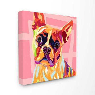 "17 in. x 17 in. ""Vibrant Abstract Posterized Rainbow Dog with Pink"" by Artist Main Line Art and Design Canvas Wall Art"
