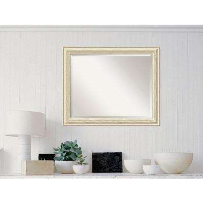 Country White Wash Wood 33 in. W x 27 in. H Distressed Framed Mirror