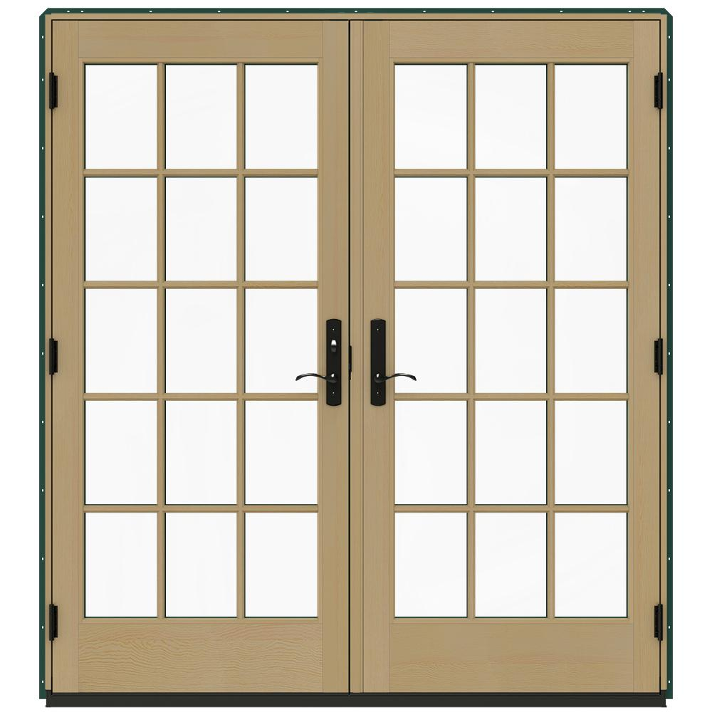 Jeld wen 72 in x 80 in w 4500 green clad wood right hand for Green french doors