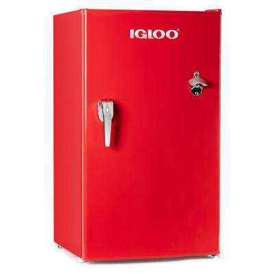 3.2 cu. ft. Classic Mini Fridge Freezer with Chrome Handle and Bottle Opener, Red