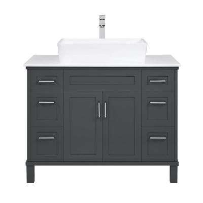 Newbridge 40 in. W Bath Vanity in Dark Charcoal w/ Cultured Marble Vanity Top in White w/ White Basin & Faucet Included