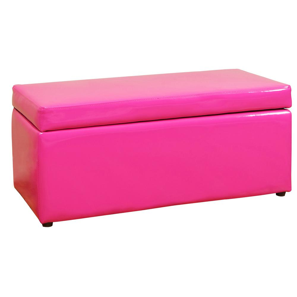 Noble House Pink Patent Leather Bench-Style Storage Ottoman Never run out of extra storage or extra seating space with this square tufted storage ottoman. Sleek and simple lines allow you to mix and match this piece with any pre-existing decor. Put your books, magazines, game controllers and other knick-knacks in it and make them easily accessible at a moment's notice. Color: Pink.