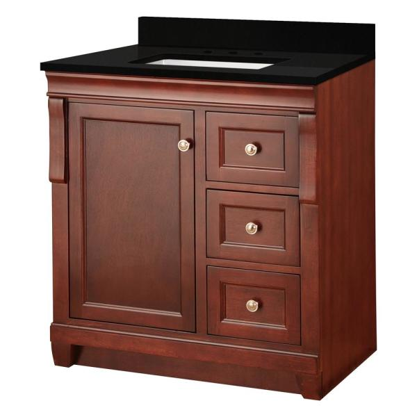 Naples 31 in. W x 22 in. D Bath Vanity in Tobacco with Granite Vanity Top in Midnight Black with Trough White Basin