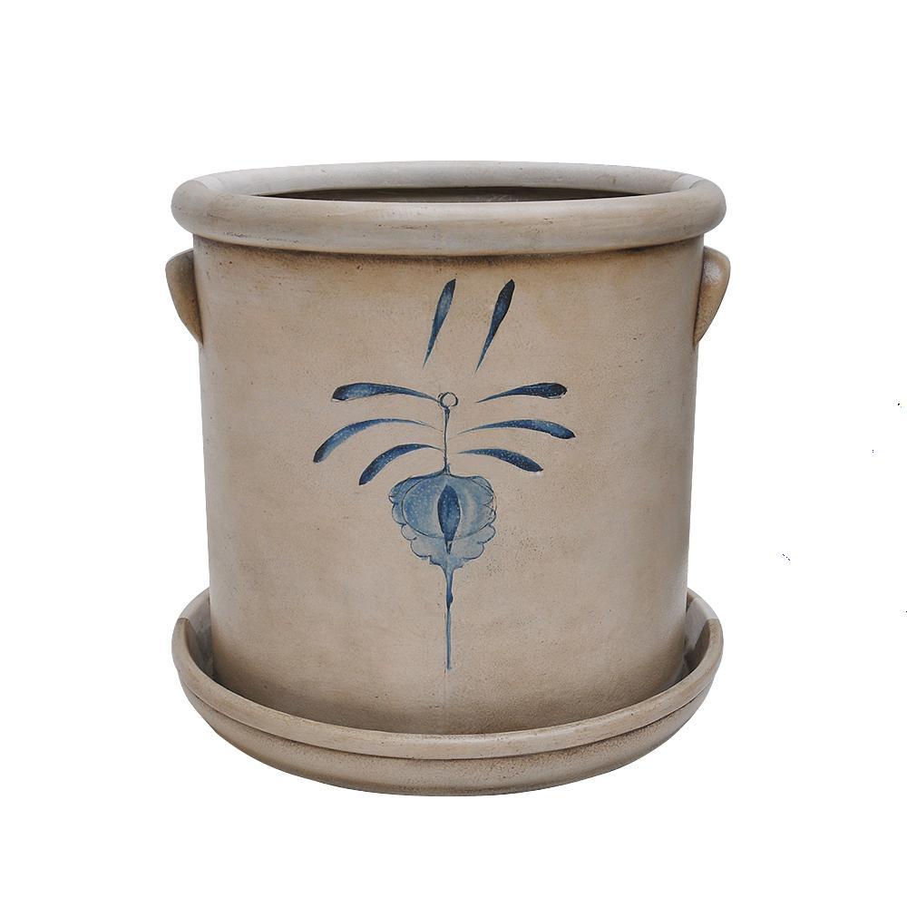 17.5 in Dia Composite Salt Glaze Pot with Saucer