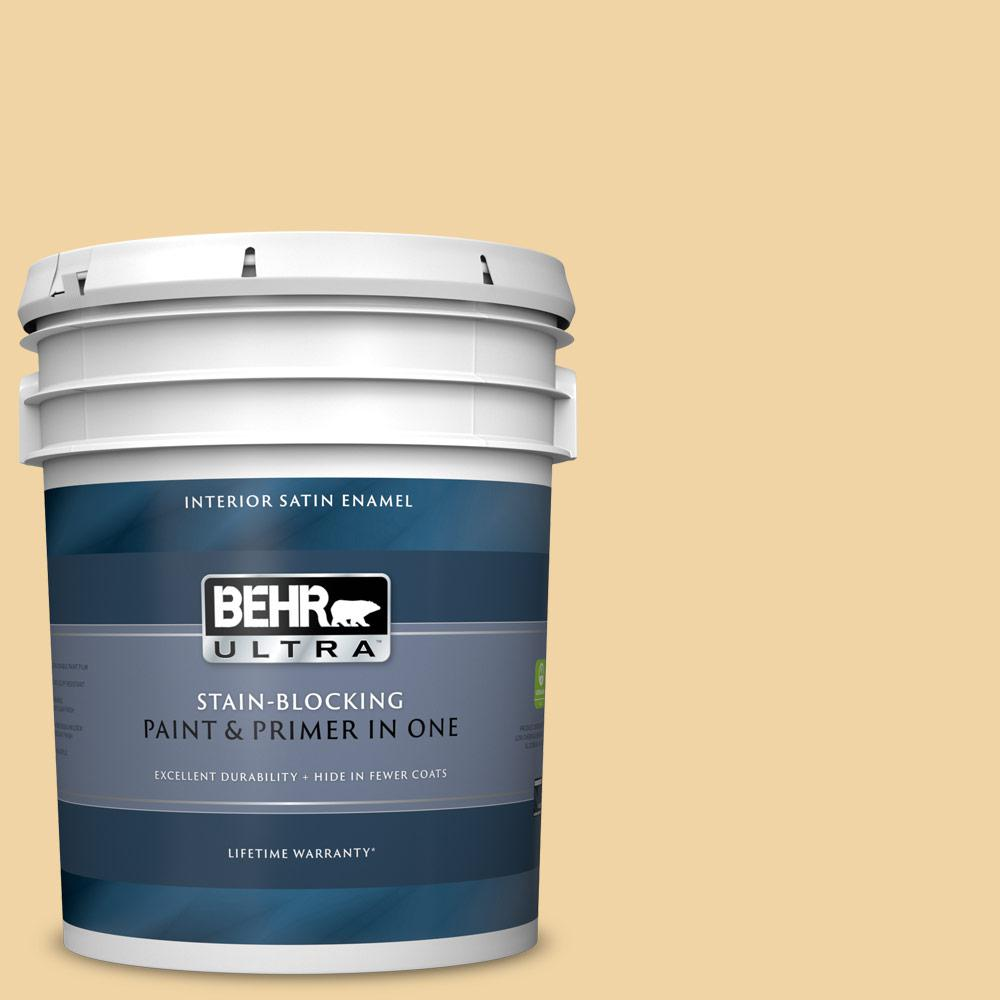 Behr Ultra 5 Gal Pmd 93 Garbanzo Bean Satin Enamel Interior Paint And Primer In One 775405 The Home Depot