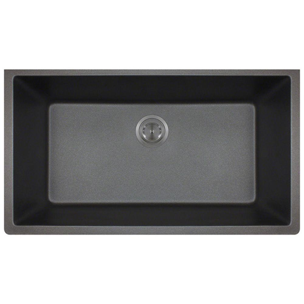 Medium image of polaris sinks undermount granite 33 in  single bowl kitchen sink in black p848 black   the home depot