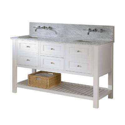 Mission Spa Premium 60 in. Double Vanity in Pearl White with Marble Vanity Top in Carrara White