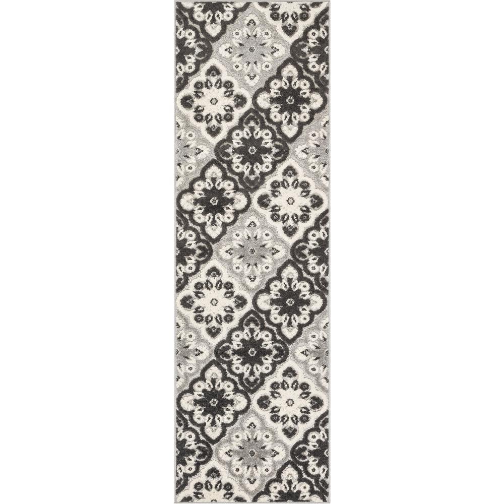 Dorado Devotion Modern Panel Grey High-Low Indoor/Outdoor 2 ft. 3 in. x 7 ft. 3 in. Runner Rug