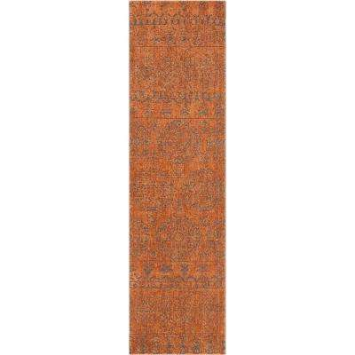 Delilah Elodie Modern Vintage Suzani Abstract Distressed Rust 2 ft. 7 in. x 9 ft. 10 in. Runner Rug