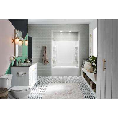 STORE+ 5 ft. Left-Hand Drain Rectangular Alcove Bathtub with Wall Set and 12-Piece Accessory Set in White