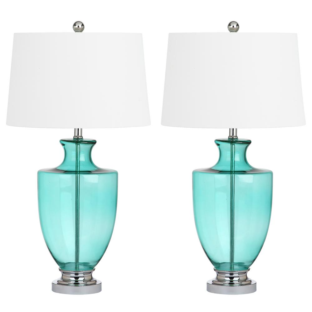 Safavieh desiree 30 in green glass table lamp set of 2 lit4407a green glass table lamp set of 2 mozeypictures Choice Image