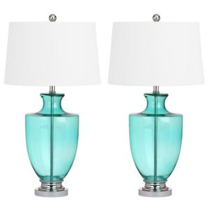 Titan lighting wayfarer 24 in teal glass table lamp tn 999177 green glass table lamp set of 2 mozeypictures Choice Image
