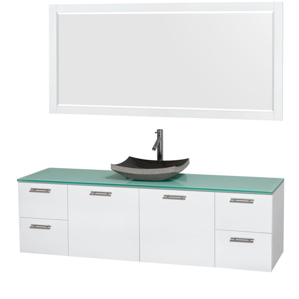 Wyndham Collection Amare 72 in. Vanity in Glossy White with Glass Vanity Top in Green, Granite Sink and 70 in. Mirror