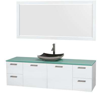Amare 72 in. Vanity in Glossy White with Glass Vanity Top in Green, Granite Sink and 70 in. Mirror
