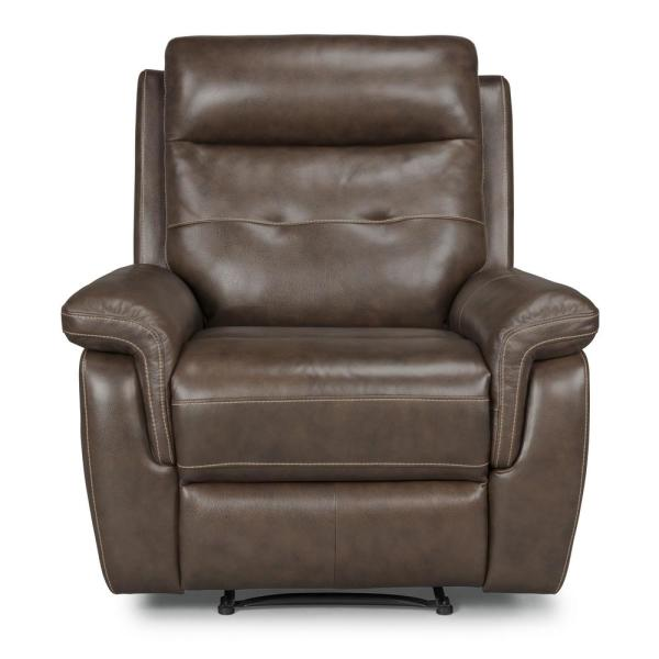 Home Styles Lux 3-Piece Brown Leather Power Motion Reclining Sofa Console