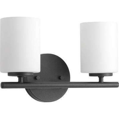 Replay 13 in. 2-Light Black Bathroom Vanity Light with Glass Shades