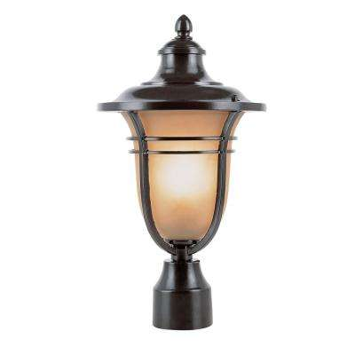 1-Light Outdoor Rubbed Oil Bronze Post Light with Amber Frost Glass Shade