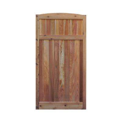 3 ft. x 6 ft. Western Red Cedar Arch Top Solid Lattice Fence Gate
