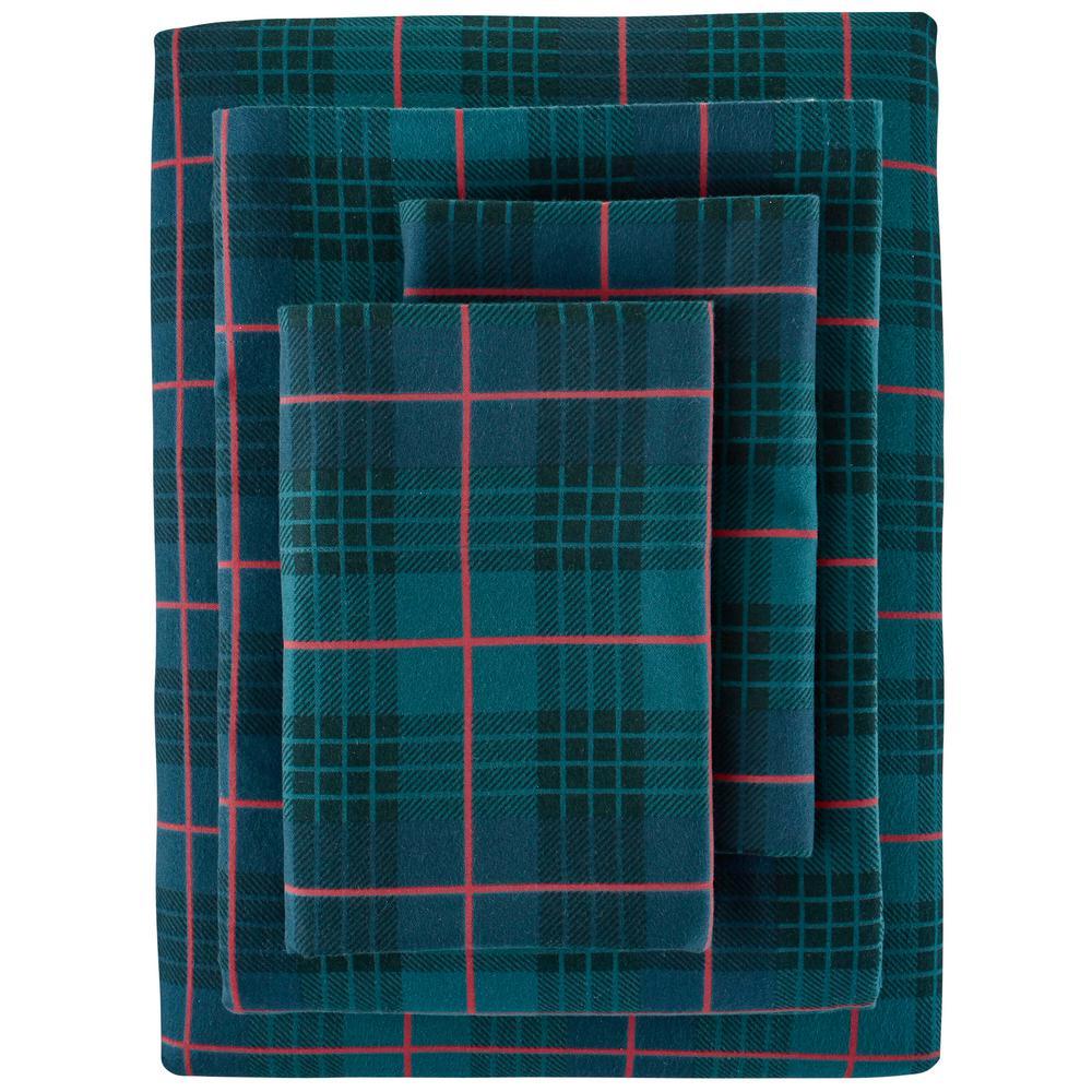 Cotton Flannel 4-Piece Queen Sheet Set in Winter Check Green