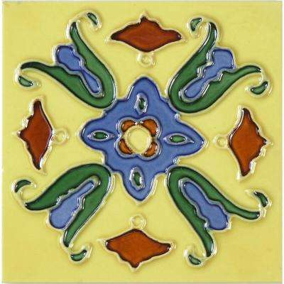 Hand-Painted Ceramic Lirio 6 in. x 6 in. x 6.35 mm Glazed Ceramic Wall Tile (2.5 sq. ft. / case)