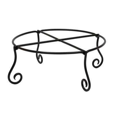 17 in. Dia Black Powder Coat Large Short Piazza Iron Plant Stand