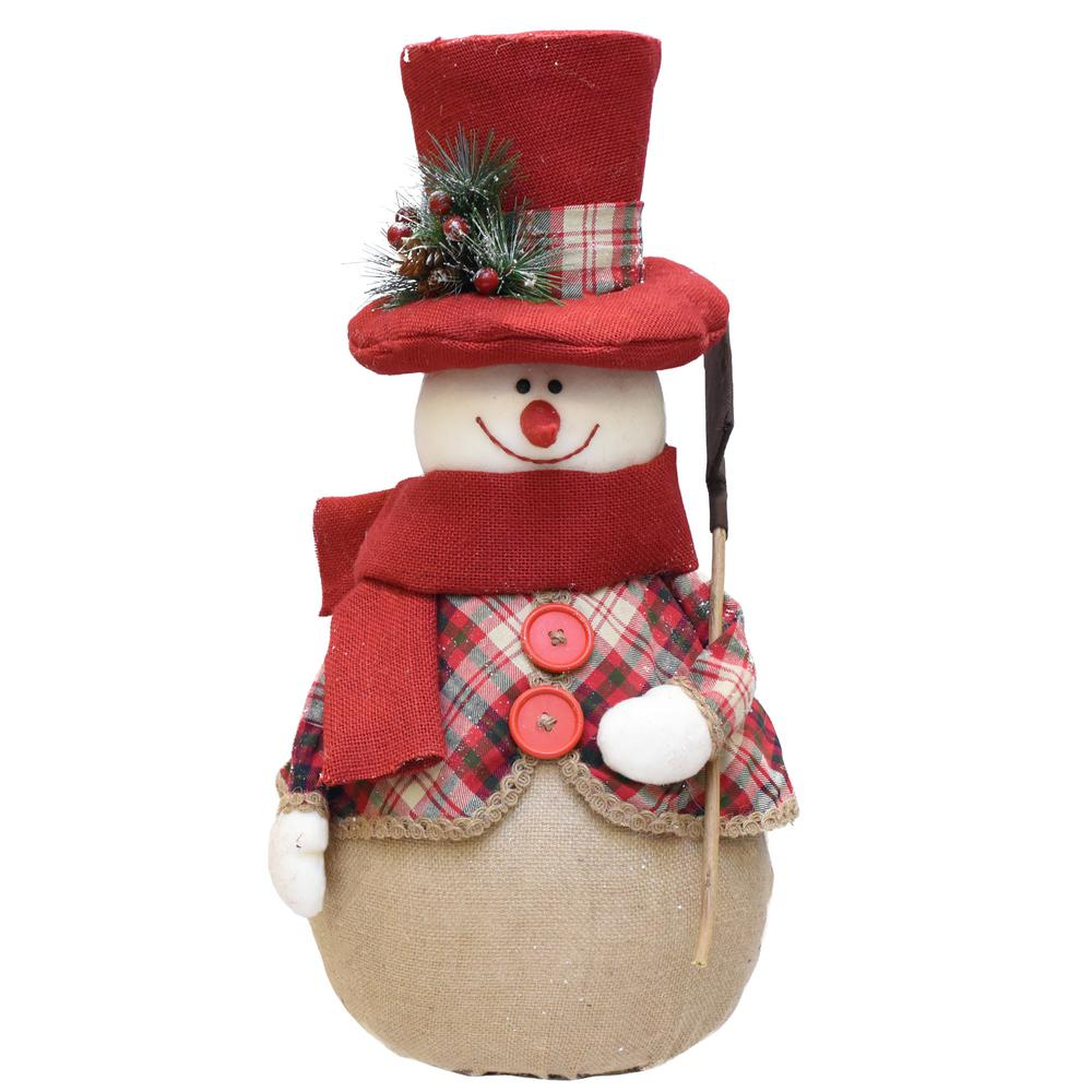 red and brown plaid snowman with shovel scarf and top hat table - Top Hat Christmas Decorations