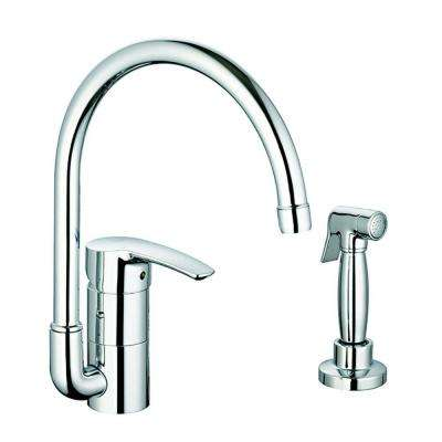 eurostyle standard kitchen faucet with side sprayer and silkmove ceramic cartridge in chrome
