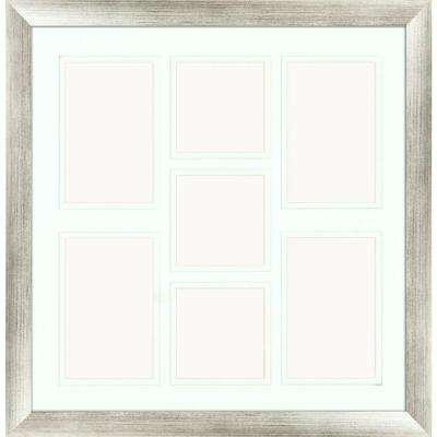7-Opening Holds (4) 4 in. x 6 in. and (3) 4 in. x 4 in. Matted Silver Photo Collage Frame (Set of 2)