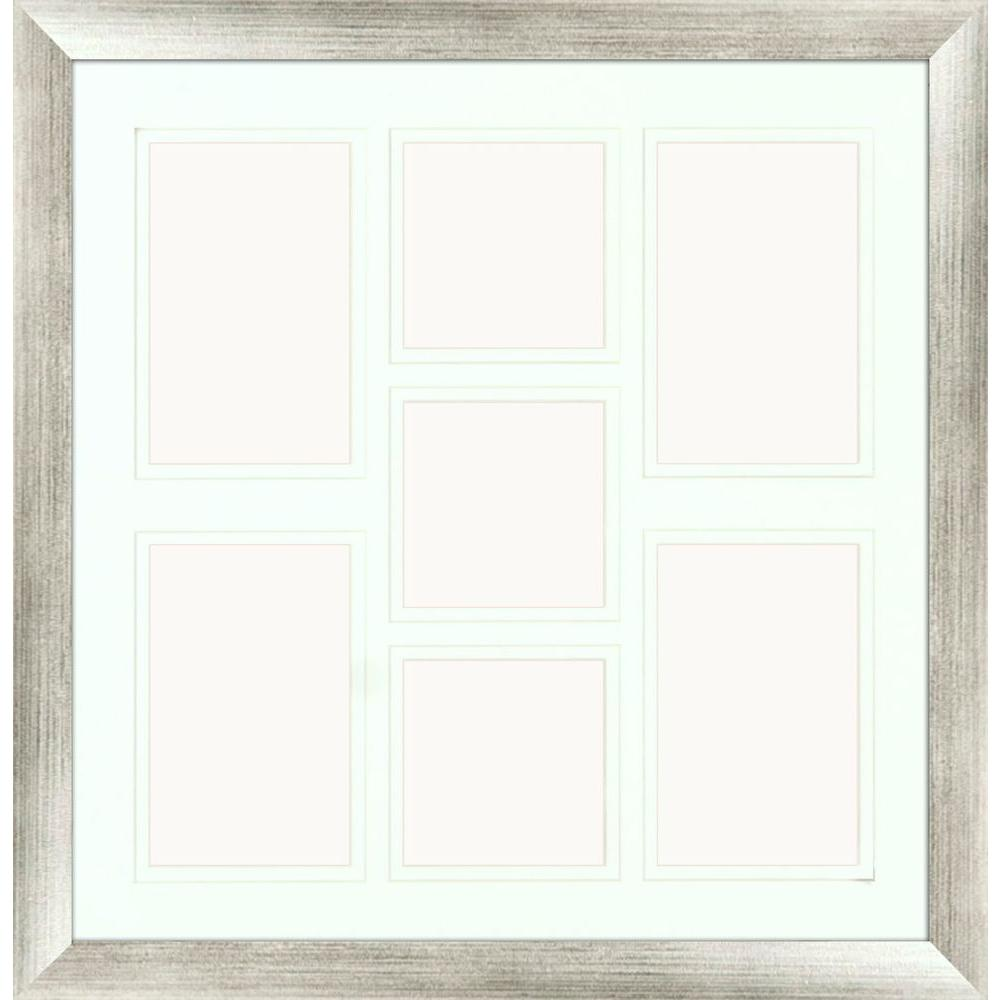 PTM Images 7-Opening Holds (4) 4 in. x 6 in. and (3) 4 in. x 4 in. Matted Silver Photo Collage Frame (Set of 2)