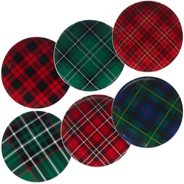 Certified International Christmas Plaid 8.25 in. Dessert Plate (Set of 6)