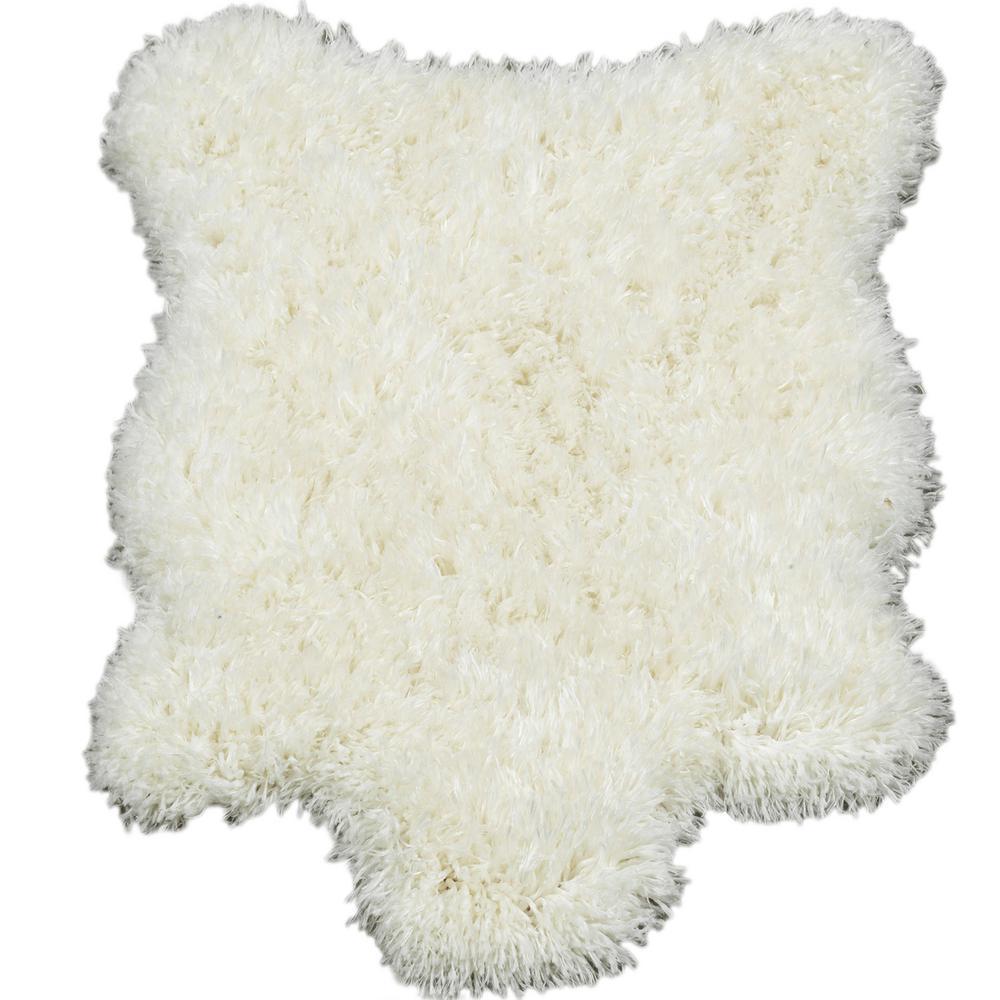 Flokati High Pile White 2 ft. x 3 ft. 3 in. Sheepskin Faux Fur Solid Design Kids Area Rug