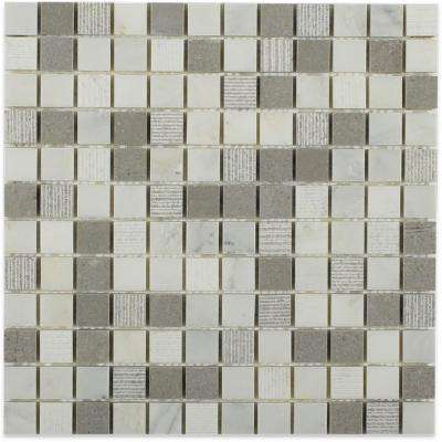 Exterior Tech Square Gray Brick Joint 12 in. x 12 in. Marble Mosaic Tile (1 sq. ft.)