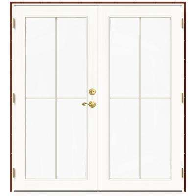 71.5 in. x 79.5 in. W-2500 Mesa Red Right-Hand Inswing French Wood Patio Door