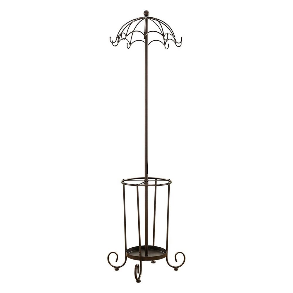 Kings Brand Furniture Bronze Metal 10 Hook Whimsical Coat And Hat Stand With Umbrella Holder