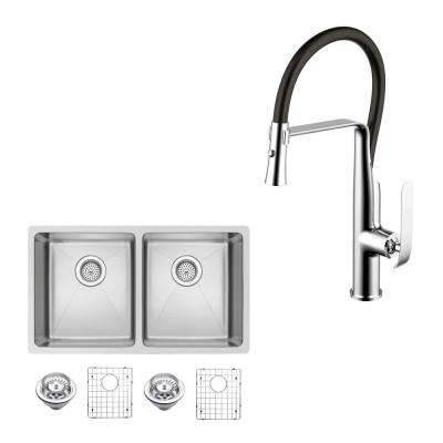 All-in-One Undermount Stainless Steel 31 in. 50/50 Double Bowl Kitchen Sink with Faucet in Chrome Sink Kit