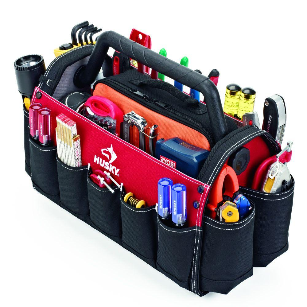 Open Tote Tool Bag Storage Electrician Organizer Carpenters Work Contractor Case