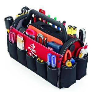 husky 17 in open tool tote with rotating handlegp